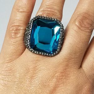 LARGE SILVER TURQUOISE STATEMENT RING